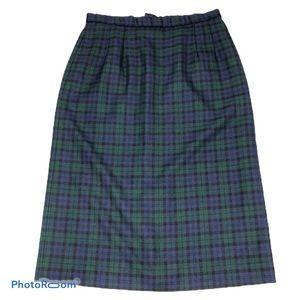Pendleton 100% Wool Plaid A Line Blue Green Skirt